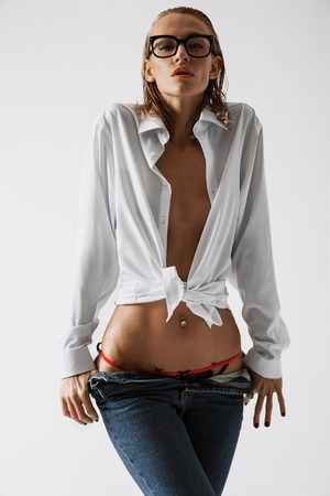 Sexy girl in white shirt