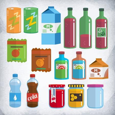 vaso de agua: Conjunto de productos en envases y botellas. Soda, leche, agua, vino, patatas, miel, mermelada, tintura. Este conjunto se acercar� para juegos 2D, animaciones e ilustraciones. Se hace en el estilo de dise�o plano. Vectores