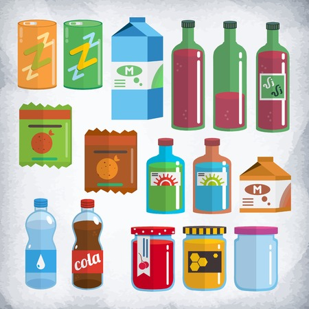 Set of products in packings and bottles. Soda, milk, water, wine, chips, honey, jam, tincture. This set will approach for 2d games, animations and illustrations. It is made in style of flat design.