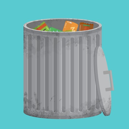 scrapyard: The trash can filled with garbage. Shabby, dirty and used. The flat design style. All parts are divided on separate layers.
