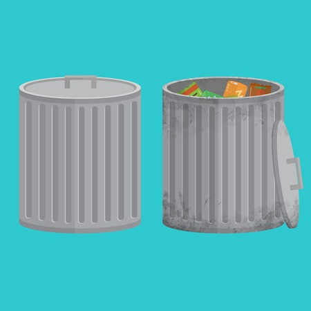 scrapyard: The trash can filled with garbage. One shabby, dirty and used and one new trash can. The flat design style. All parts are divided on separate layers.