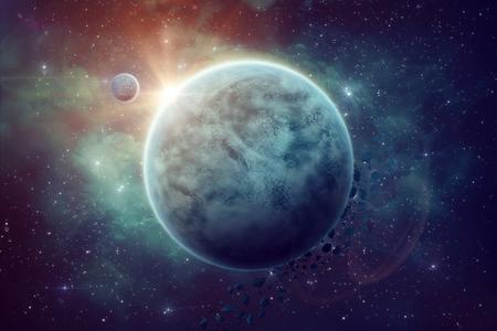 Ruimte illustratie. De onbekende planeet met de maan. Cosmos objecten in blauwe kleuren. Mooie nevel van de ruimte. Stockfoto