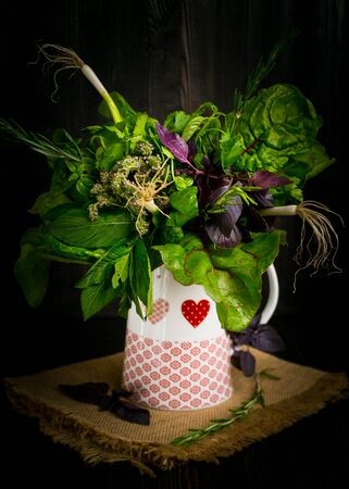 darkwood: Bouquet of fragrant herbs in a white jug on darkbackground, in Rustic style Stock Photo