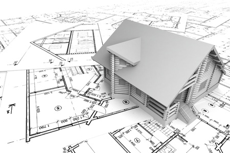 housing project: Wooden house on the drawings