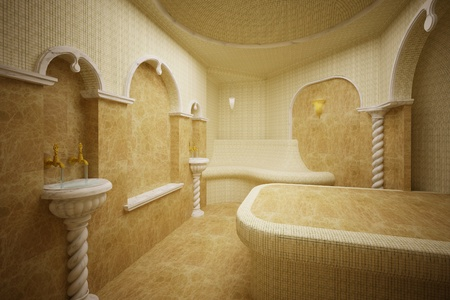 Hammam,Turkish steam room made of marble and mosaics Stock Photo