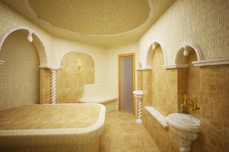 hamam: Hammam,Turkish steam room made of marble and mosaics Stock Photo