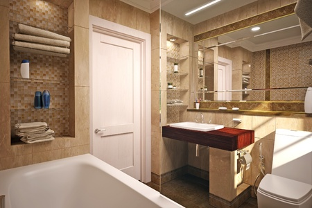 marble flooring: interior of the bathroom