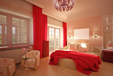 Bedroom in pink interior design Stock Photo