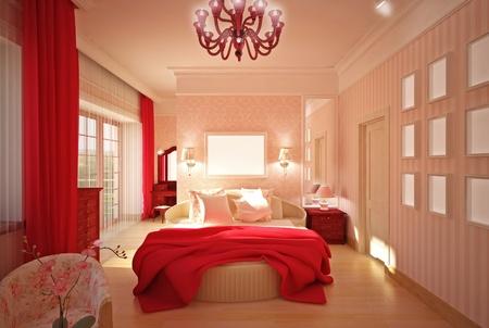 bedroom in pink, 3D model Stock Photo - 14000662