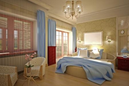 bedroom 3-D model Foto de archivo