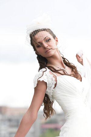 portrait bride in wedding dress photo