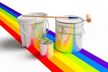 Bucket with paint, roller, and rainbows colors on a white background