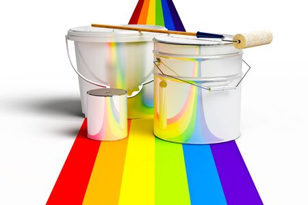 Bucket with paint, roller, and rainbows colors on a white background photo