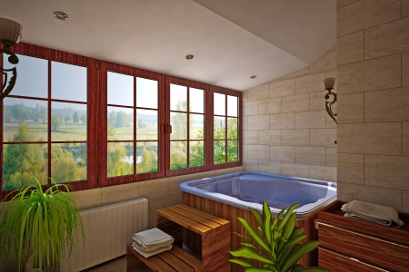 interior of bathroom with SPA photo