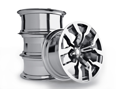 Car alloy wheels isolated over white - 3d render photo