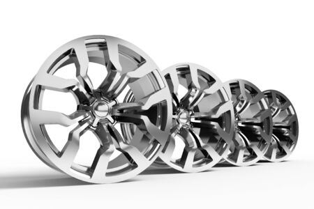 mag: Car alloy wheels isolated over white - 3d render