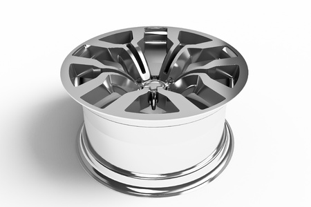 aftermarket: Car alloy wheel isolated over white - 3d render Stock Photo