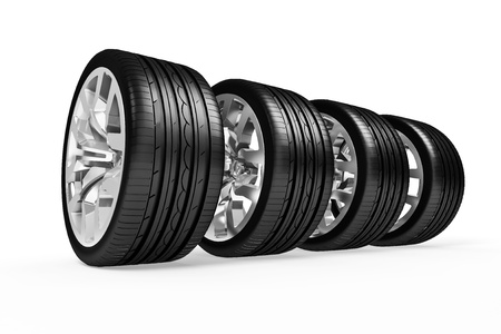 Set of car wheels  isolated over white - 3d render photo