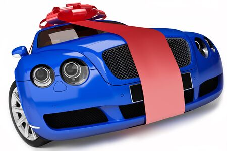 provide: Blue modern sport car ,luxurious gift  Stock Photo