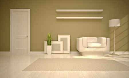 modern living room  in beige tones Stock Photo
