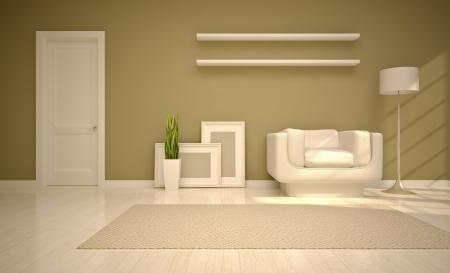 modern living room  in beige tones photo