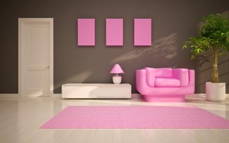 sun s: soggiorno moderno con sedia rosa Archivio Fotografico