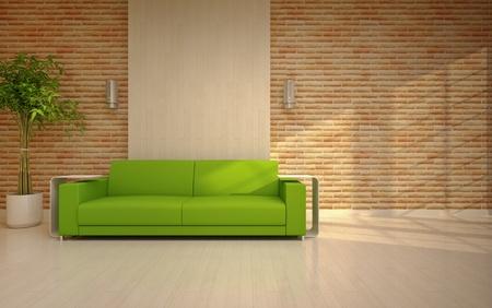 sun s: soggiorno moderno con divano verde Archivio Fotografico