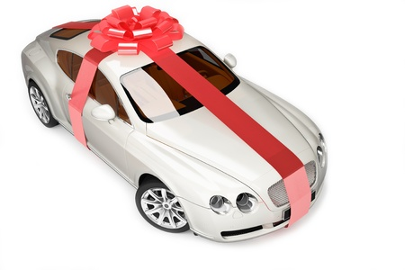 sleeping car: Beige modern sport car, luxurious gift