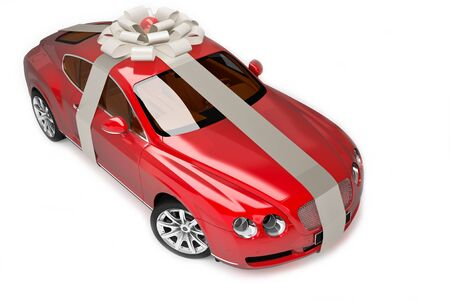 transportation facilities: Red modern sport car, luxurious gift