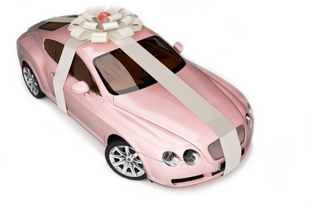 provide: Pink modern sport car, luxurious gift  Stock Photo