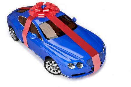 sleeping car: Blue modern sport car ,luxurious gift  Stock Photo