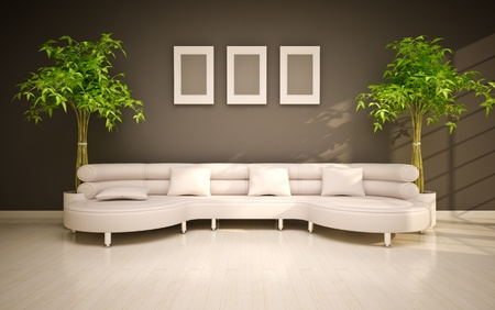 green couch:  minimal modern interior Stock Photo