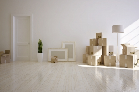 interior moving house  with cardboard boxes photo