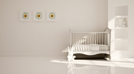 Interior of nursery  B W photo