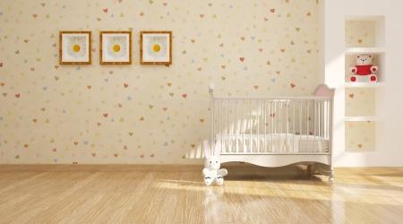 Minimal modern interior of nursery