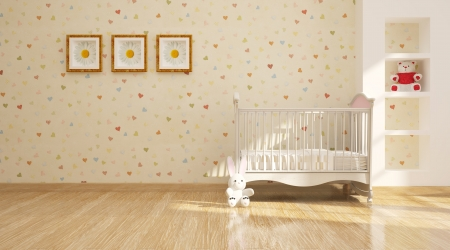 Minimal modern interior  of nursery  photo