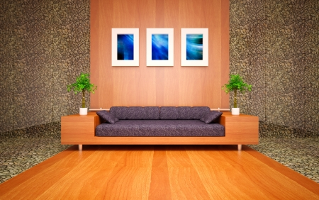 modern living room with sea stones Stock Photo
