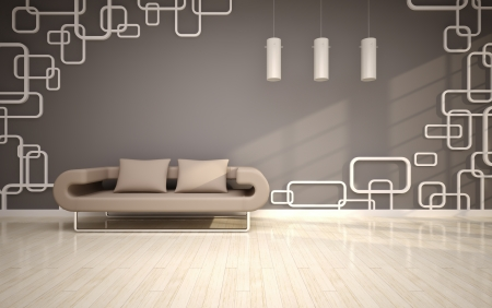 modern living room with beige sofa Stock Photo - 14719789