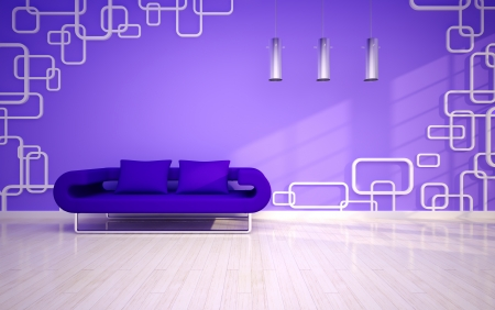modern living room with violet sofa