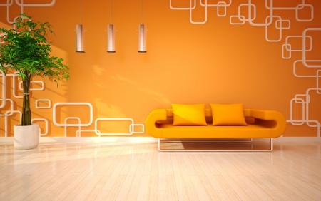 sun s: soggiorno moderno con divano arancione