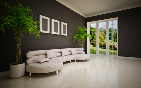 green couch: minimal modern interior with  large sofa Stock Photo
