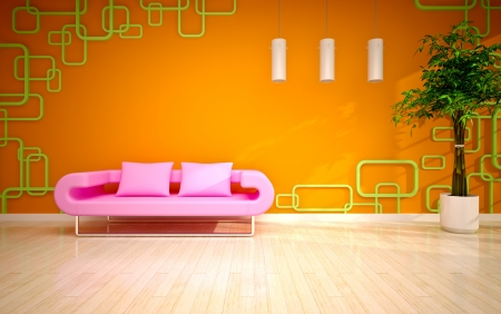modern living room with pink sofa