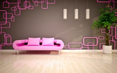 pink and green: modern living room with pink sofa
