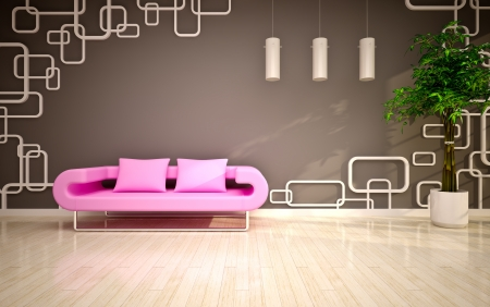 modern living room with pink sofa photo