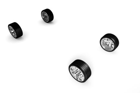 Set of car wheels  over white - 3d render photo