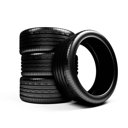 aftermarket: Set of car wheels  over white - 3d render Stock Photo