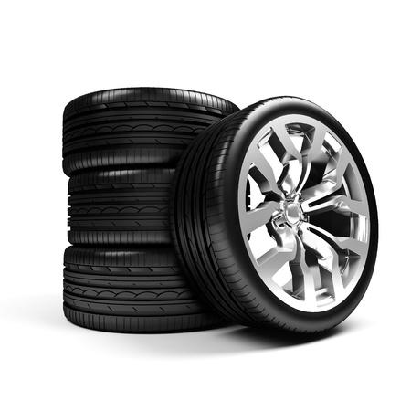 Set of car wheels isolated over white - 3d render Banco de Imagens