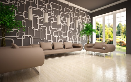 modern living room with beige sofa   armchairs photo