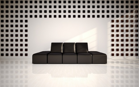 woll: Modern living room with black sofa