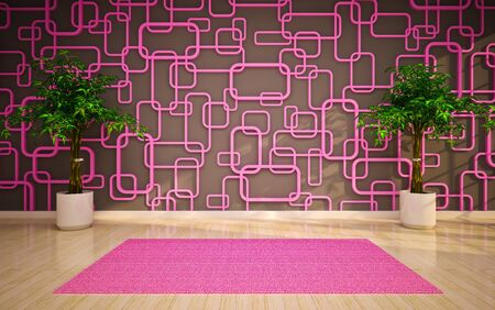 Empty interior with pink carpet and trees photo